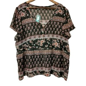 Maurices Sheer Black Pink Floral Paisley XXL Top